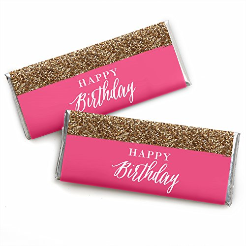 Happy Wrappers - Chic Happy Birthday - Pink and Gold - Candy Bar Wrappers Birthday Party Favors - Set of 24