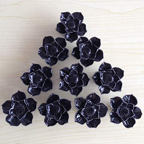 SunKni 41mm 10Pcs Lotus Flower Floral Knobs Ceramic Handles Pulls for Dresser Drawer Bathroom Cabinet Kitchen Cupboard Wardrobe Closet Furniture Door New Set with Screws 10 Pack (Black)