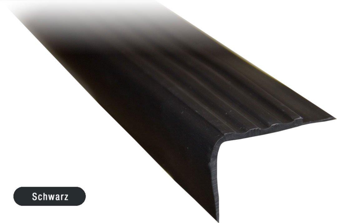 3 Treppenkantenprofil dunkelgrau Kunststoff PVC 1m k/ürzbar Treppenwinkel
