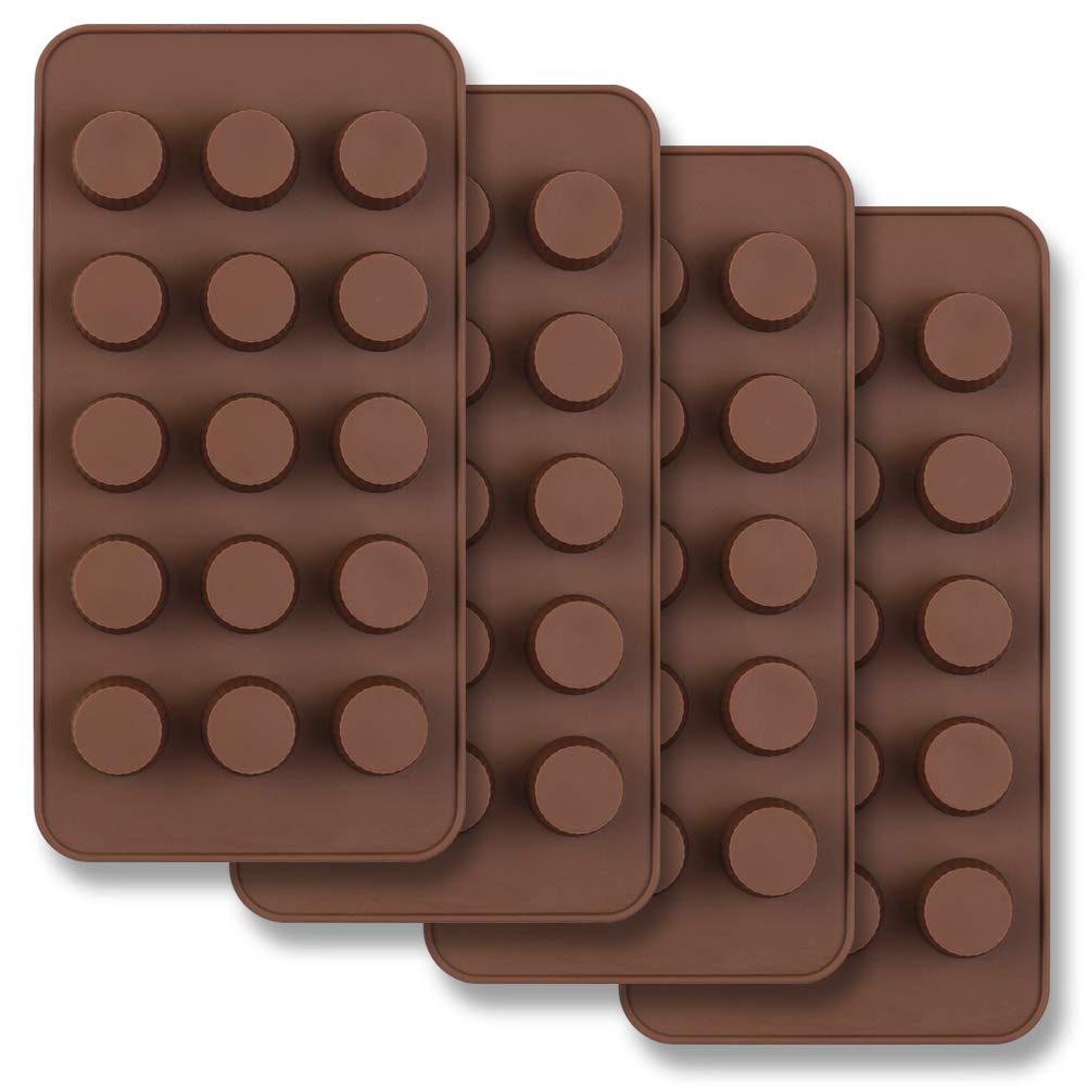homEdge 15-Cavity Mini Cup Chocolate Mold, Set of 4PCS Non Stick Food Grade Silicone Mold for Candy Keto Fat Bomb, Chocolate, Peanut Butter