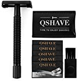QSHAVE Double Edge 4 inch Long Handle Safety Razor Twist Butterfly Open Matte Black Steel Coating (1 Razor + 5 pcs Titanium Coated Blades + Leather Travel Case)