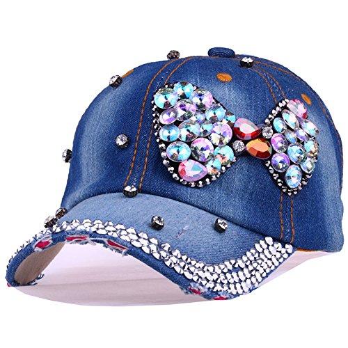 CRUOXIBB Bowknot Baseball Cap Women Colorful Crystal Rhinestone Snapback Caps Bling Denim Hat (#3 Bowknot) ()