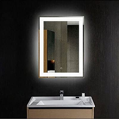 """CO-Z LED Wall Mirror, Modern LED Lighted Bathroom Mirror, Dimmable Rectangle Wall Mirror with Dimmer & Lights, Contemporary Light Up Wall Mounted Bathroom Vanity Mirror with LED Lights (24"""" x 30"""")"""