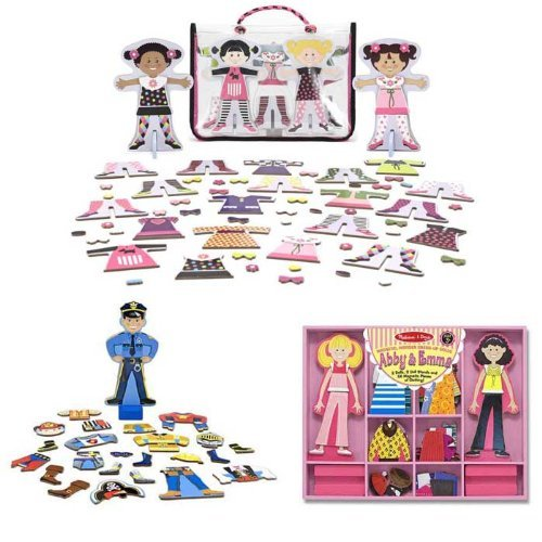 Melissa & Doug Abby & Emma Deluxe Magnetic Dress-Up Plus Tops and Tights and Joey Magnetic Dress-Up Bundle