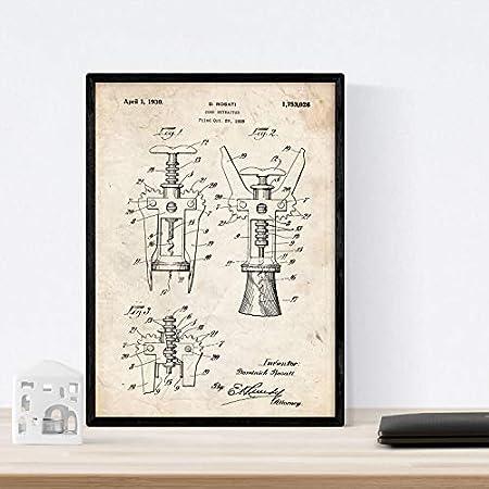 Nacnic Poster con patente de Sacacorchos. Lámina con diseño de patente antigua en tamaño A3 y con fondo vintage
