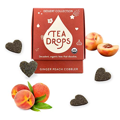 Sweetened Organic Loose Leaf Tea | Caffeine Free Ginger Peach Cobbler Tea | 10 Servings of Decadent Dessert Teas Without the Calories | Delicious Hot or Iced | By Tea Drops