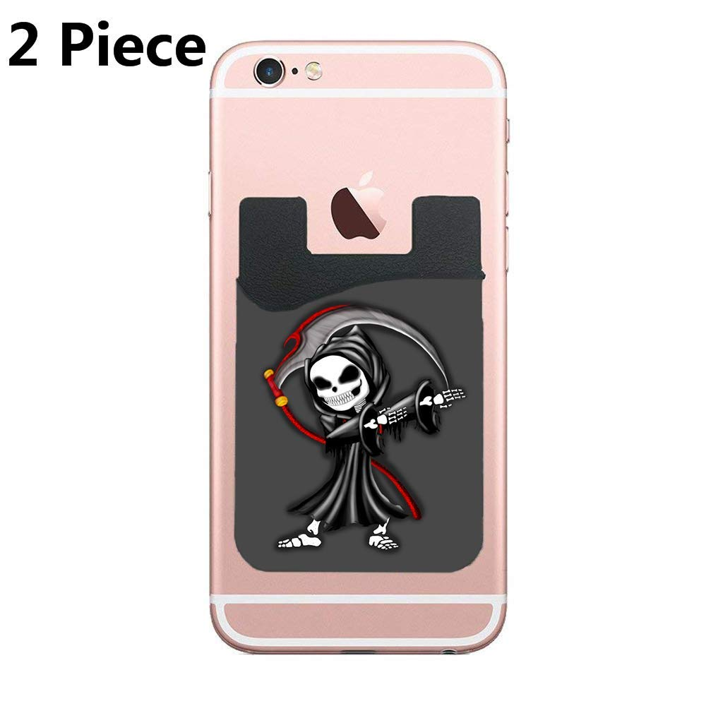 CardlyPhCardH Dabbing Reaper Adhesive Silicone Cell Phone Wallet/Card Holder for iPhone, Android, Samsung Galaxy, Most Smartphones - 2 Piece