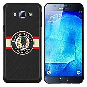 LECELL--Funda protectora / Cubierta / Piel For Samsung Galaxy A8 A8000 -- HALCÓN NEGRO ICE HOCKEY --