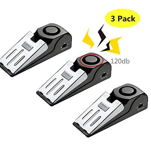 Konesky Door Stop Alarm with 120 dB - Premium Rubber Door Stopper Security Door Wedge Intruder Alert for Home & Traveling (3 Pack) (Best Door Stop Alarm)