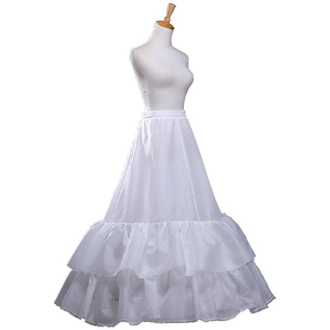 61dbe6f48 Fashion Plaza enagua krinoline 2 capas volantes a de línea novia Petticoat  A0008 blanco