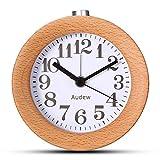 Best Table Clocks - Audew Round Wooden Clock,Small Silent Desk Snooze Beech Review