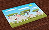 Lunarable Mothers Day Place Mats Set of 4, Elephant and Twin Daughters Enjoying the Play Time in a Forest Cartoon Figures, Washable Fabric Placemats for Dining Room Kitchen Table Decor, Multicolor