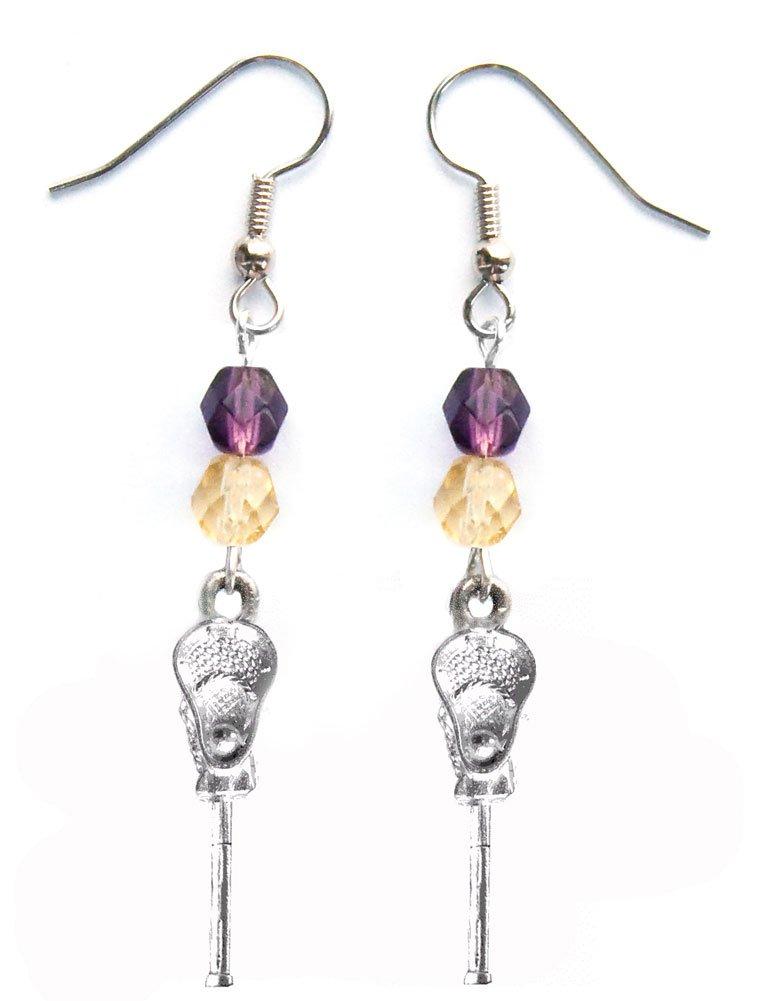 ''Lacrosse Stick & Ball'' Lacrosse Earrings (Team Colors Purple & Gold)
