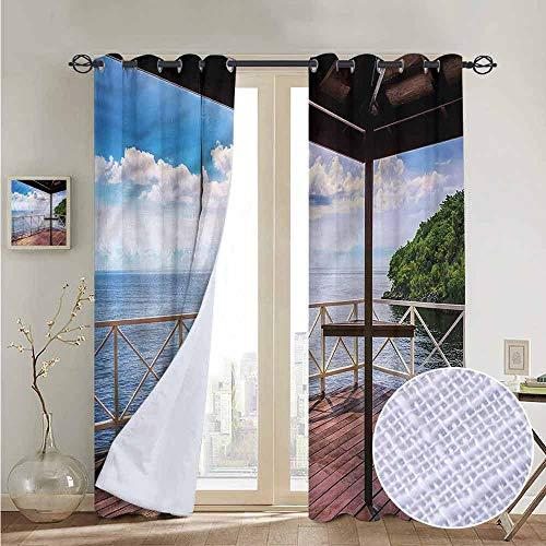 NUOMANAN Pattern Curtains Modern,Trinidad Tobago Island,Living Room and Bedroom Multicolor Printed Curtain Sets 54