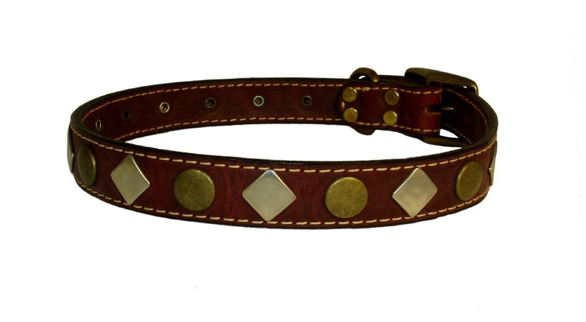 Heirloom Studded Burgundy Leather Dog Collar
