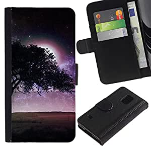 EJOY---Tirón de la caja Cartera de cuero con ranuras para tarjetas / Samsung Galaxy S5 V SM-G900 / --Púrpura Árbol Luna