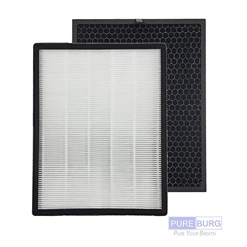 Pureburg Replacement HEPA Filters and 1 Carbon Pad for Levoit Air Purifier LV-PUR131, Part LV-PUR131-RF