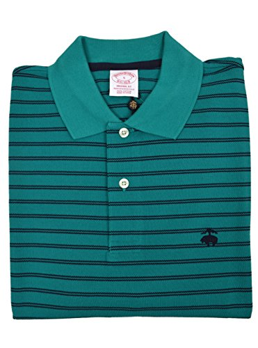 (Brooks Brothers Men's Original Fit Performance Pique Polo Shirt Teal Double Striped Small)