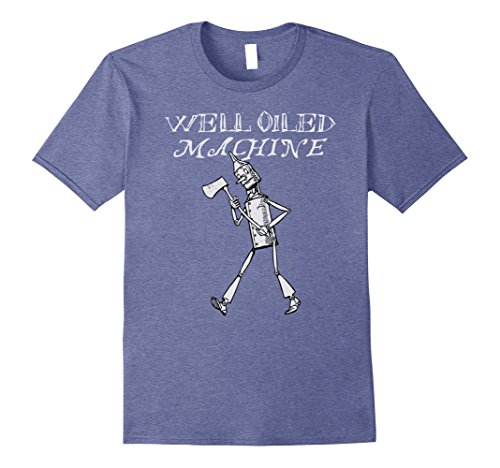 Mens Wizard Of Oz T-Shirt - Tin Man Shirt -Well Oiled Machine Tee Large Heather Blue