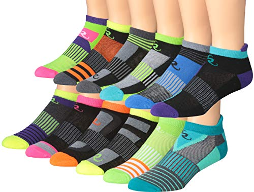 Ronnox Men's 12-Pairs Low Cut Running & Athletic Performance Socks Medium/Large MRLT04-AB-ML