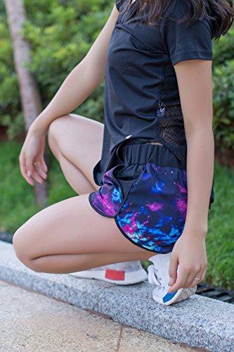 Semplice Pantaloni Palestra Glamorous Estate Yoga Pantaloncini Casual Giovane Stampato Sport Asciugatura Rapida Moda Shorts Corti Running Donna Blu 4RawHY