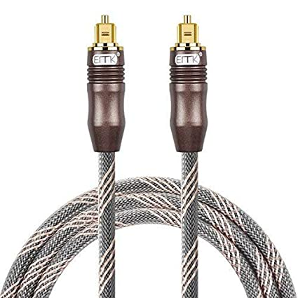 Optical Audio Cable Digital Toslink Cable - [Nylon Braided Jacket,Durable and Flexible] EMK Fiber Optic Cord for Home Theater, Sound bar, TV, PS4, ...