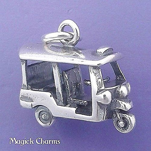 Asian Charm Earrings - Sterling Silver 3-D TUK TUK Rickshaw Asian Taxi Charm Pendant - d91135 Jewelry Making Supply Pendant Bracelet DIY Crafting by Wholesale Charms