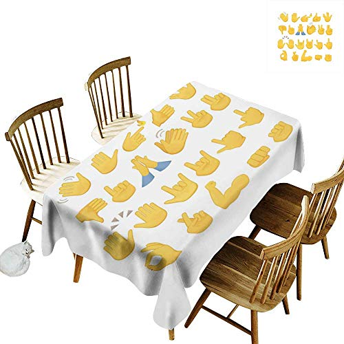 W Machine Sky Wrinkle Resistant Tablecloth Emoji Hand Signs Set Thumbs Down Okay Rock Signal Waving Peace Different Gestures W60 xL120 for Family Dinners,Parties,Everyday Use ()
