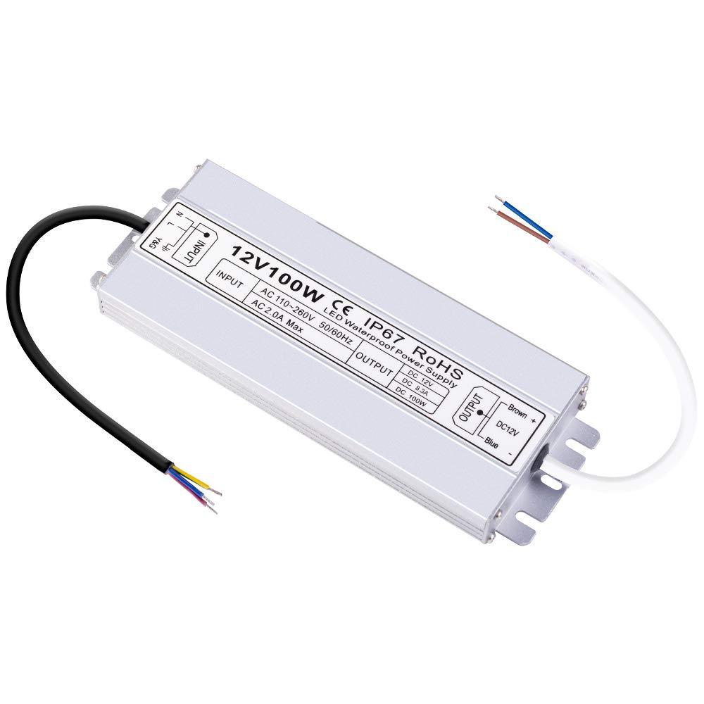 LCJ 100 Watts DC 12V IP67 Waterproof LED Power Supply Drvier Transformer for Outdoor LED Lighting