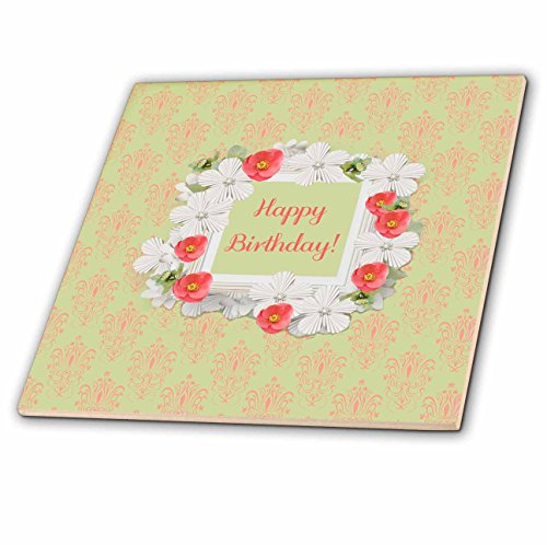 3dRose Beverly Turner Birthday Design - Birthday, Coral and White Flowered Frame, Damask Background - 6 Inch Glass Tile (ct_282166_6)