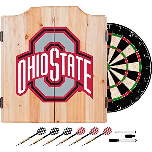 Ohio State University Deluxe Solid Wood Cabinet Complete Dart Set - Officially Licensed! by TMG