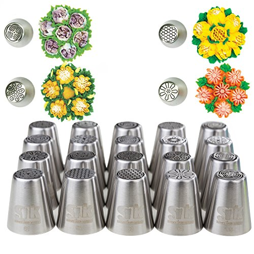 tips set, 20 numbered NEW-DESIGN stainless steel nozzles, leaf tip, 3-color+single coupler, 20 pastry bags, silicon bag, 5 cleaning brushes, GIFT box & 5 silicon cake cups - By SLK (Love Tool)