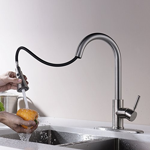 Kitchen Faucets with Pull Down Sprayer - Kablle Commercial Single Handle Brushed Nickel Kitchen Faucet, Single Level High Arch Pull Out Stainless Steel Kitchen Sink Faucets with Deck Plate by Kablle (Image #3)