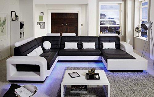 SAM® Wohnlandschaft New York mit LED Beleuchtung in der Ausführung schwarz / weiß Sitzfläche im abgesteppten Design und angenehme Polsterung Größe ca. 243 x 363 x 185 cm Kissen inklusive pflegeleichte Oberfläche futuristisches Design Lieferung montiert per Spedition