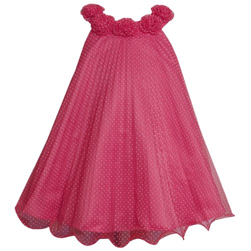 Bonnie Jean Baby/INFANT 12M-24M Fuchsia Flock Dot Crystal Pleat Trapeze Dress