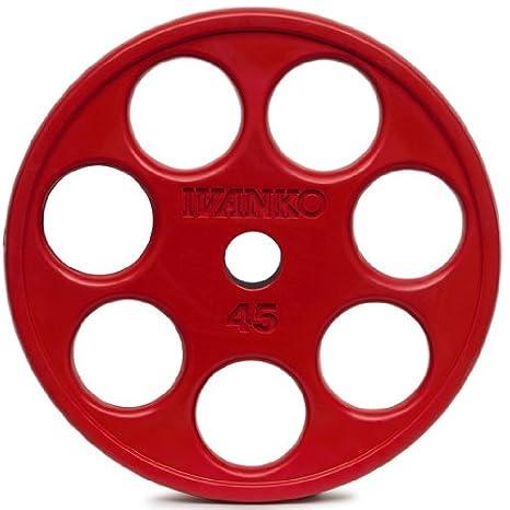 Ivanko - Juego de colores de goma recubierto EZ-LIFT rojo olímpico placas con orificios 45 Lb par para uso en barras olímpicas: Amazon.es: Deportes y aire ...