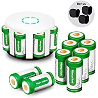 Morpilot 12Pcs RCR123A Rechargeable Batteries 8-Ports Charger, 3.7V 700mAh Li-ion Battery Camera Skin Arlo VMS3030/3230/3330/3430/3530 Security Cameras…