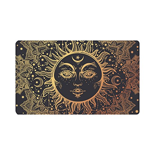 InterestPrint Beautiful Floral Paisley Sun Face Medallion Pattern Doormat Anti-Slip Entrance Mat Floor Rug Indoor/Outdoor/Front Door Mats Home Decor, Rubber Backing Large 30