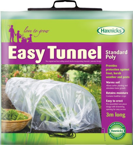 Tierra Garden 50-5060 Haxnicks Easy Polyethylene Tunnel Garden Cloche, Cover and Protect Plants from Harsh Weather, Animals, and Insects, Standard Protective Dome for Your Garden