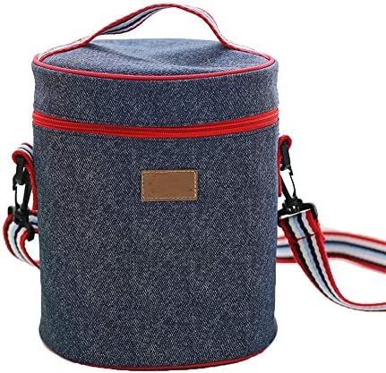 HO-TBO Picknick-Beutel, Runder Iso-Beutel Reisepicknick-Eisbeutel Denim-Iso-Beutel Insulation Special Lunch Box Bag Blue Tragbares Outdoor-Tisch & Picknickgeschirr (Größe : L)