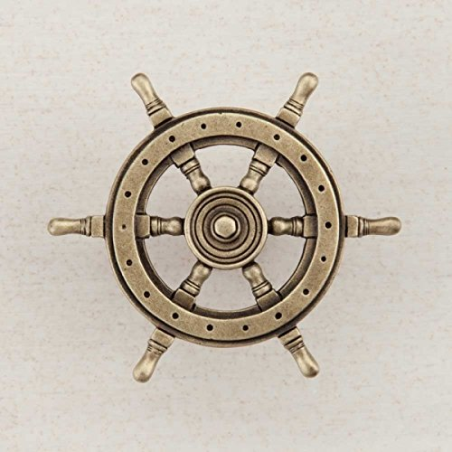 - Acorn Manufacturing DPCAP Artisan Collection Ships Wheel Knob44; Antique Brass