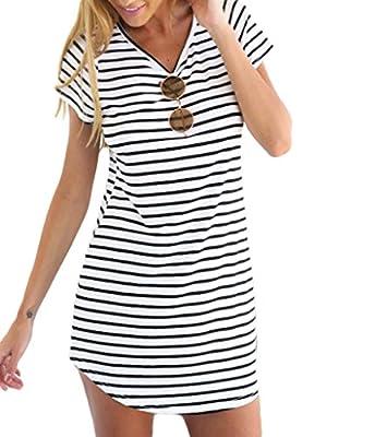 PERSUN Women's Summer Basic Stripes Short Sleeve Shift Mini Dress Top