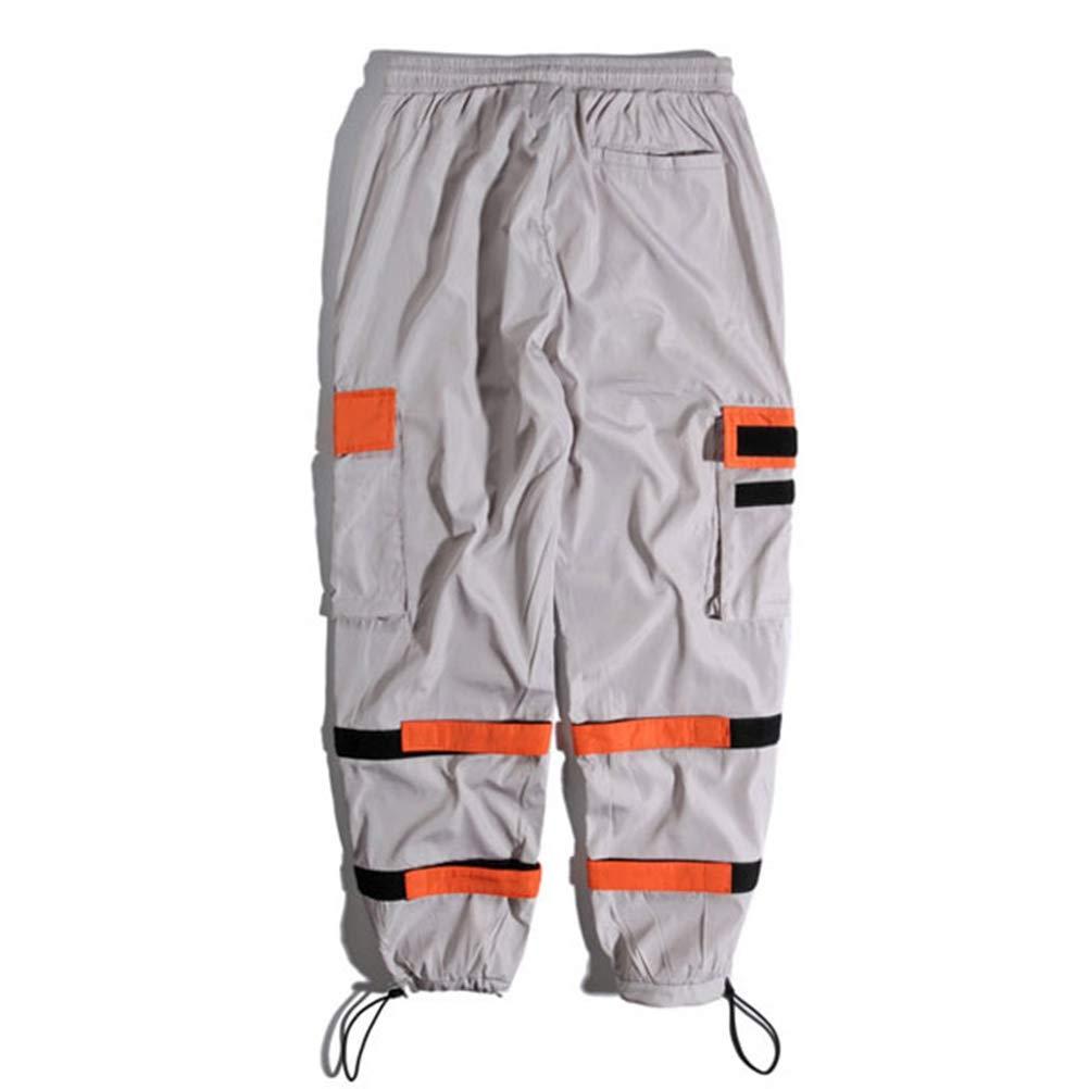 Pantalones Harem De Carga para Hombre Bolsillos Laterales con Cord/óN Ajustable El/áStico Hombre Hip Hop Joggers Casual Streetwear Pantalones