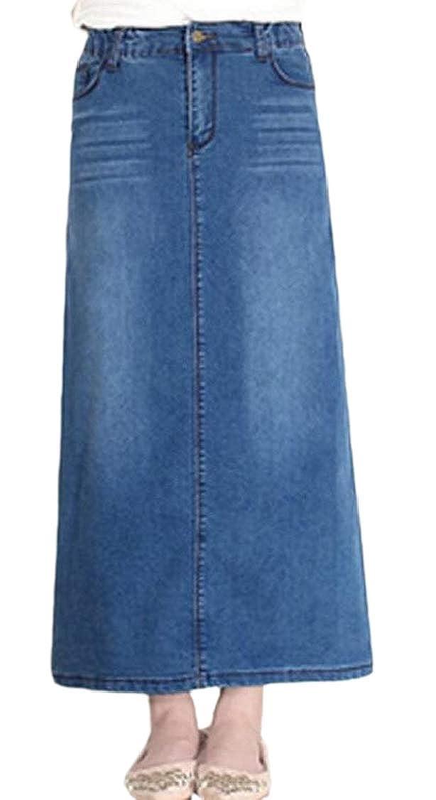 M/&S/&W Womens High Waist Stretchy Denim A Line Casual Long Skirts