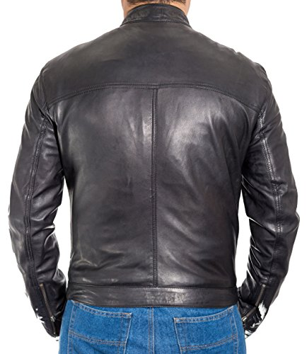 de de negro cordero ger hombre piercing para L Chaqueta piel Biker Collar de Et wZUFHnqq