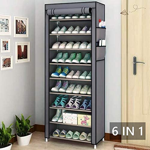 Shoe Rack Organizer Shoe Rack with Cover and Storage Cabinet Tower 27-Pair Space Saving Shoe Closet LESHP 9-Tier Shoe Tower Rack Shoe Racks for Bedroom
