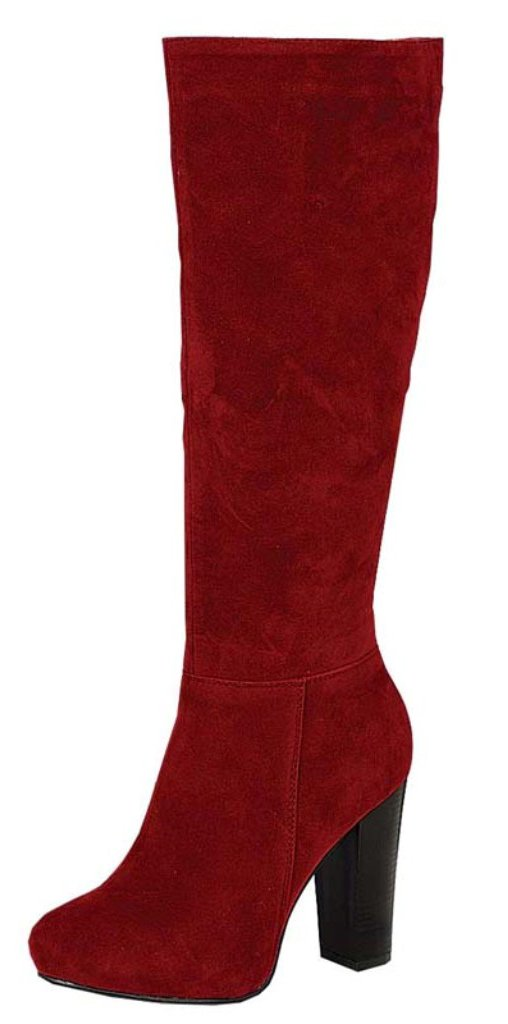 Refresh Women's Ringo-03 Knee High Side Zipper Closure Chunky High Heel Dress Boots B01I46JLCE 5.5 B(M) US|Red