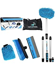 CARTURETOWN 10 Pieces Car Wash Cleaning Kit- Long Handle Brush, Soft Bristle Exterior Duster, Scratch Free Mitt, Squeegee and Hose Attachment - Essential Supplies for Auto Care, Washing and Scrubbing