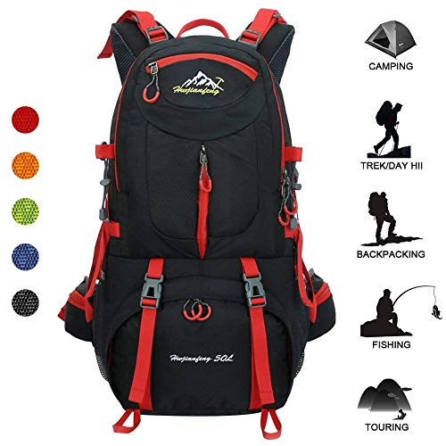 Huwaijianfeng Hiking Backpack Water-Proof Backpack Outdoor Sport Daypack with a Rain Cover for Climbing Mountaineering Fishing Travel, 50 L