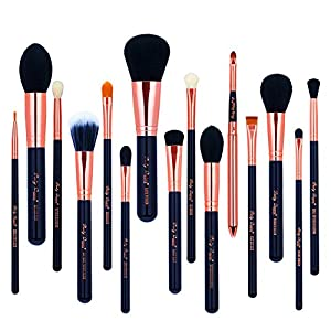 Party Queen 15Pcs Makeup Brushes Set Luxury Rose Golden Synthetic Wool Beauty Brush Tool Cosmetics Brush Kit